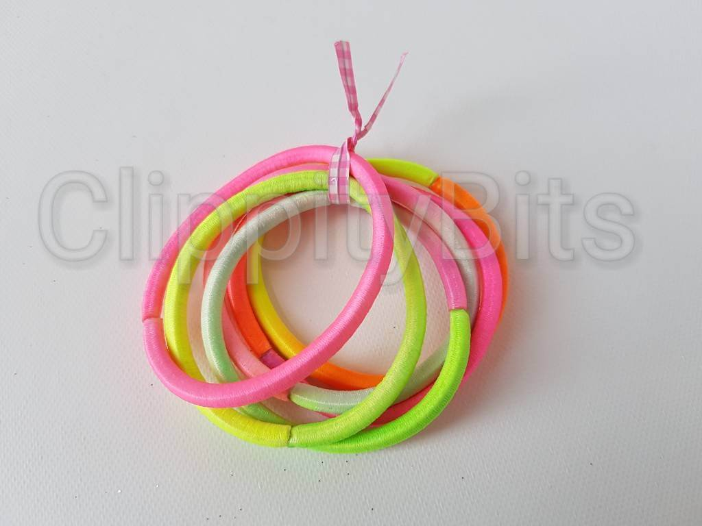 Neon Two Tone Coloured Endless Snag Free Elastic Hair Bobbles (Pack ... 3bc0dc4a756