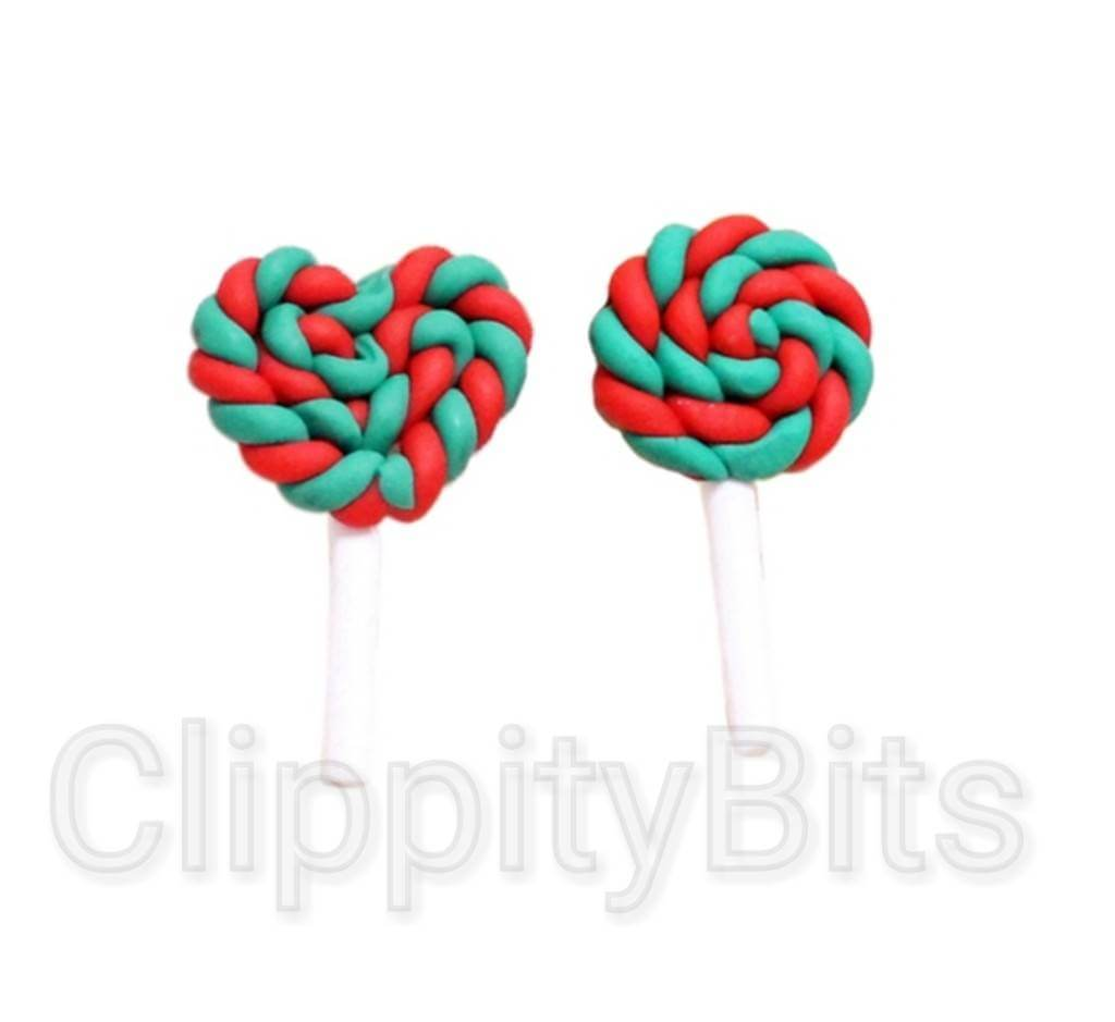 Christmas Candy.45mm Red Green Christmas Candy Lollipop Lolly Pop Fimo Flatbacks